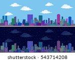 horizontal seamless urban... | Shutterstock . vector #543714208