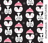 Seamless Penguin Bird Pattern...
