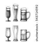 beer glasses and mug isolated... | Shutterstock .eps vector #543714592