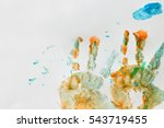colorful hand prints of toddler ... | Shutterstock . vector #543719455