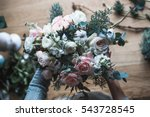 florist at work  pretty young... | Shutterstock . vector #543728545