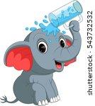 cute elephant holding glass | Shutterstock .eps vector #543732532