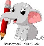 cute elephant holding pencil | Shutterstock .eps vector #543732652