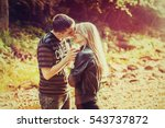 romantic couple hugging at... | Shutterstock . vector #543737872