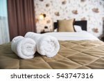 towel rolls on a hotel bed. | Shutterstock . vector #543747316
