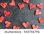 water melon cut into heart... | Shutterstock . vector #543756796