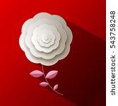 paper rose flower on red... | Shutterstock .eps vector #543758248