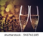 toasting with champagne glasses ... | Shutterstock . vector #543761185