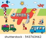 illustration of airport on the... | Shutterstock . vector #543763462