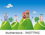 houses on the hills | Shutterstock .eps vector #54377542