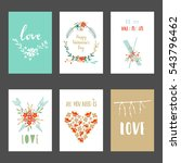 valentines day set cards.... | Shutterstock .eps vector #543796462