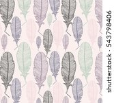 a handdrawn pattern of feathers.... | Shutterstock .eps vector #543798406