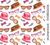 ladies accessories pattern ... | Shutterstock . vector #543802636