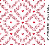 seamless pattern with hearts.... | Shutterstock .eps vector #543814312