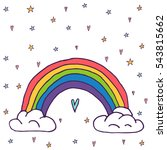 cute vector rainbow with clouds ... | Shutterstock .eps vector #543815662
