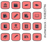 set of 16 simple books icons.... | Shutterstock .eps vector #543825796