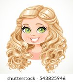 beautiful blond girl with long... | Shutterstock .eps vector #543825946