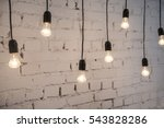 retro light bulbs hang in... | Shutterstock . vector #543828286