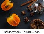 top flat view  anise star ... | Shutterstock . vector #543830236