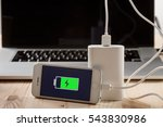 full charge of a smartphone on... | Shutterstock . vector #543830986
