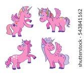set of vector pink unicorns... | Shutterstock .eps vector #543841162