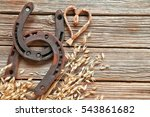 horseshoes with oat  straw...   Shutterstock . vector #543861682