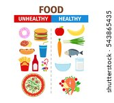 healthy and unhealthy food... | Shutterstock .eps vector #543865435