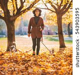 Stock photo full length portrait of happy young woman walking with dogs outdoors in autumn 543903595
