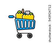 shopping trolley and shopping... | Shutterstock .eps vector #543924712