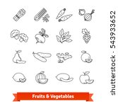 fruits   vegetables thin line... | Shutterstock .eps vector #543933652