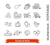 grocery store thin line art... | Shutterstock .eps vector #543933682