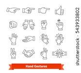 hand gestures thin line art... | Shutterstock .eps vector #543933802