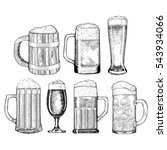beer glass  wooden mug. sketch... | Shutterstock .eps vector #543934066