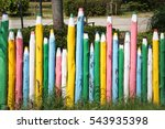 wooden fence in the form of... | Shutterstock . vector #543935398
