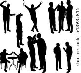 men drinking silhouettes  ... | Shutterstock .eps vector #543935815