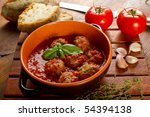 bowl with meatballs and tomato... | Shutterstock . vector #54394138