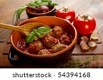 bowl with meatballs and tomato... | Shutterstock . vector #54394168