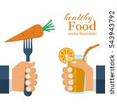 healthy food concept. glass of... | Shutterstock .eps vector #543943792