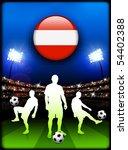 austria flag button with soccer ... | Shutterstock .eps vector #54402388