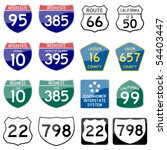 road sign interstate glossy... | Shutterstock .eps vector #54403447