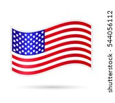 waving american flag on a white ... | Shutterstock .eps vector #544056112