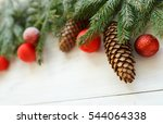 christmas tree branches with... | Shutterstock . vector #544064338