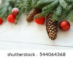 christmas tree branches with... | Shutterstock . vector #544064368
