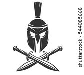 spartan helmet with crossed... | Shutterstock .eps vector #544085668