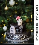 Small photo of Cake for the New Year. RIP 2016 . ?ake with skull . Cake for Halloween