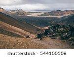the view of landmannalaugar... | Shutterstock . vector #544100506