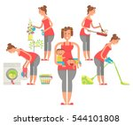 set of housewife in funny... | Shutterstock . vector #544101808