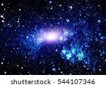 blue dark night sky with many... | Shutterstock . vector #544107346