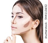 young woman's face with... | Shutterstock . vector #544113652
