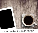 coffee cup and tablet on wooden ... | Shutterstock . vector #544133836